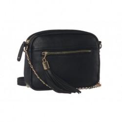 Černá kabelka crossbody se zlatým zipem a třásňovým zdobením