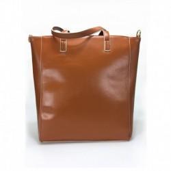 Karamelová vetší kabelka přes rameno s béžovým lemem