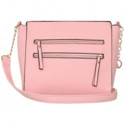 Růžová crossbody kabelka se zipovým zdobením