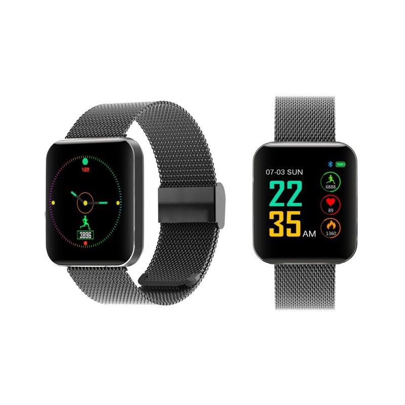 Chytré hodinky S88 s dotykovým displejem a kovovým řemínkem - černá Ostatní