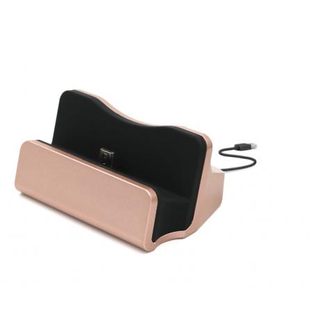 Dokovací stanice micro USB 3.0 se stojánkem, růžová - zlatá